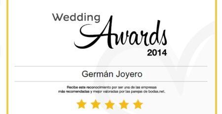 Galardón Wedding Awards 2014 para Germán Joyero de Bodas.net