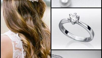 Peinado de estilo romántico y conjunto de perlas cultivadas, oro blanco y diamantes con solitario de oro blanco y diamante