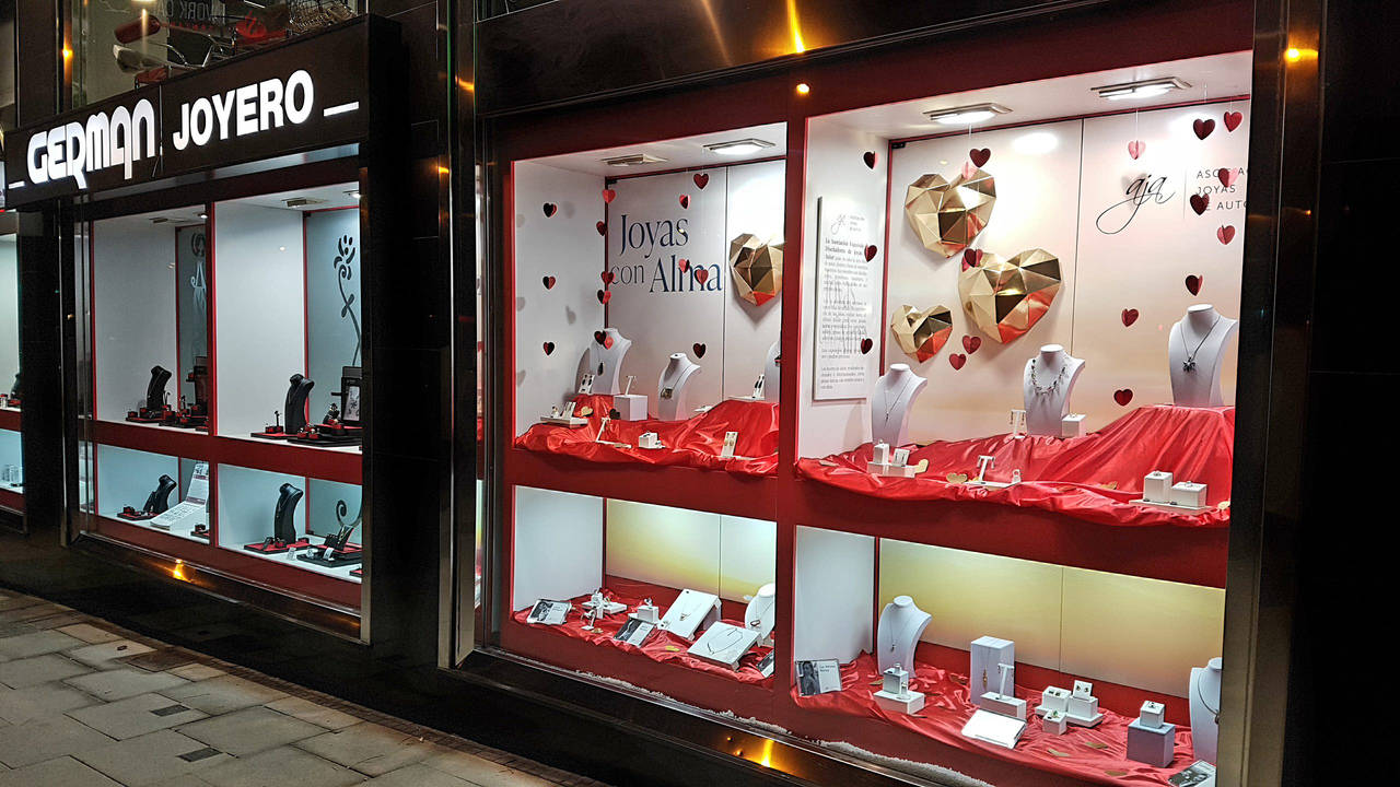 Escaparate joyería German Madrid San Valentin